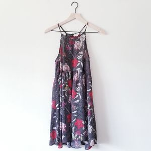 Umgee High Neck Floral Fit & Flare Dress